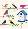 Cute bird set with the house vector image
