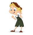 cute boy smilling cartoon character vector image