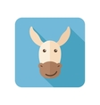 Donkey flat icon with long shadow vector image vector image
