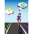 dreaming cyclist in training vector image