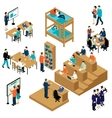 education isometric student icon set vector image vector image