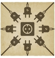 electric wire with plug old background vector image vector image