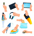 electrical appliances or devices hands icons set vector image vector image