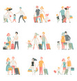 family travel set father mother and kids vector image vector image