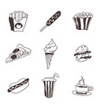 fast food small selection of doodles food vector image