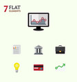 flat icon incoming set of bubl payment bank and vector image vector image