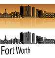 Fort Worth skyline in orange vector image vector image