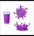 glass cup of purple fruit juice splash vector image vector image