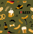 hand drawn seamless pattern with traditional beer vector image