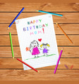 happy birthday mom drawing father and daughter vector image vector image
