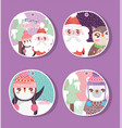 happy merry christmas tags set vector image vector image