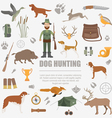 Hunting icon set Dog hunting equipment Flat style vector image