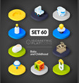 Isometric flat icons set 60 vector image vector image