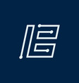 letter b font maze italic geometric vector image