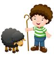 Little shepherd and black sheep vector image vector image