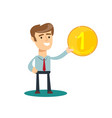 man holds in his hand a gold coin stock vector image