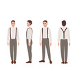 man wearing trousers with suspenders and shirt vector image
