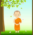 monk meditation stand up on grass with tree vector image
