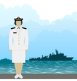 Navy US Army officer-1 vector image vector image