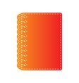 Notebook simple sign Orange applique isolated vector image vector image