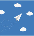 paper plane and clouds vector image