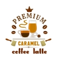 Premium coffee latte caramel icon vector image
