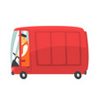 red cartoon retro cargo van commercial transport vector image vector image