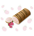 roll cakes with raspberry fruits sweets vector image vector image