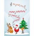 Santa Claus Snowman Reindeer Sing a Song vector image vector image