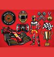 set of high detailed formula racing car element vector image vector image