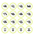 set round icons of helicopters vector image vector image