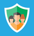 shield icon with user silhouette symbol vector image