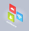 software icons with download cloud storage wi-fi vector image vector image