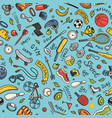 sport seamless pattern icons doodle style vector image vector image