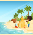 summer beach and funny happy kids playing with vector image vector image