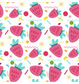 sweet strawberry seamless pattern vector image vector image