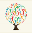 tree of people shapes for community team concept vector image