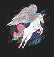 unicorn full color rainbow vector image vector image