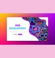 web development neon landing page vector image