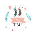 winter hygge socks greeting holiday card vector image vector image
