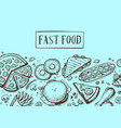 fast food vintage hand drawn graphic design vector image