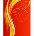 Wavy background with floral ornament vector image