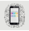 Smartphone with hand drawn doodle icons vector image