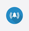 alarm bell Flat Blue Simple Icon with long shadow vector image vector image