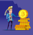 bitcoin miner with pickaxe and golden coins vector image