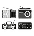 black and white radio element silhouette set vector image vector image