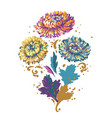 bouquet flowers blue yellow and purple asters vector image