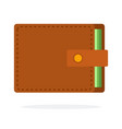 brown leather wallet flat icon isolated vector image