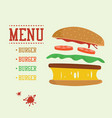 burger concept menu with burger ingredients flat vector image vector image