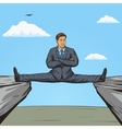 Businessman sitting on split between rocks pop art vector image